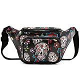 Sugar Skull Fanny Pack Day of the Dead Waist Bag Purse Calavera Running Bag Stylish Travel Cell Phone Bag (Black)