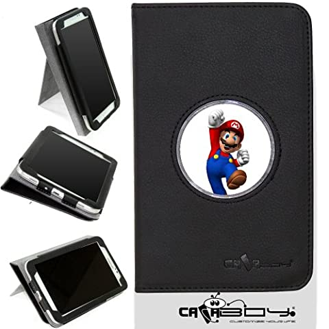 New Samsung Galaxy Tab 4 7 inch leather Case By Calaboy- Interchangeable Design - Personalized Picture Frame w Super Mario Bros Logo (Samsung Tab 4 Case Mario)
