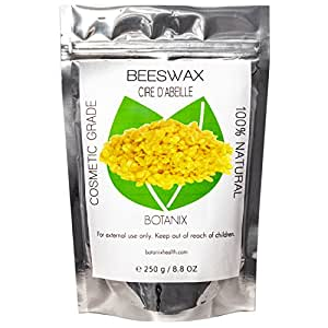 BEESWAX 100% Pure Natural Beeswax – Cosmetic Grade Refined Yellow Botanix Bees Wax Bead Pellets (250 g / 8.8 Oz)
