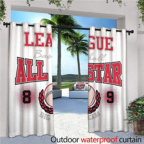 - cobeDecor Kids Outdoor Blackout Curtains College Baseball Softball Player League All Star Big Team Badge Champion Sports Themed Decorations Outdoor Privacy Porch Curtains W72 x L108