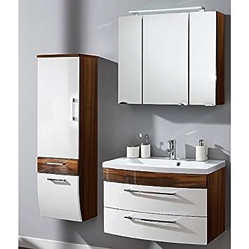 Badmöbel Set 3-teilig ○ Weiß hochglanz & Walnuss Holz-Optik ...