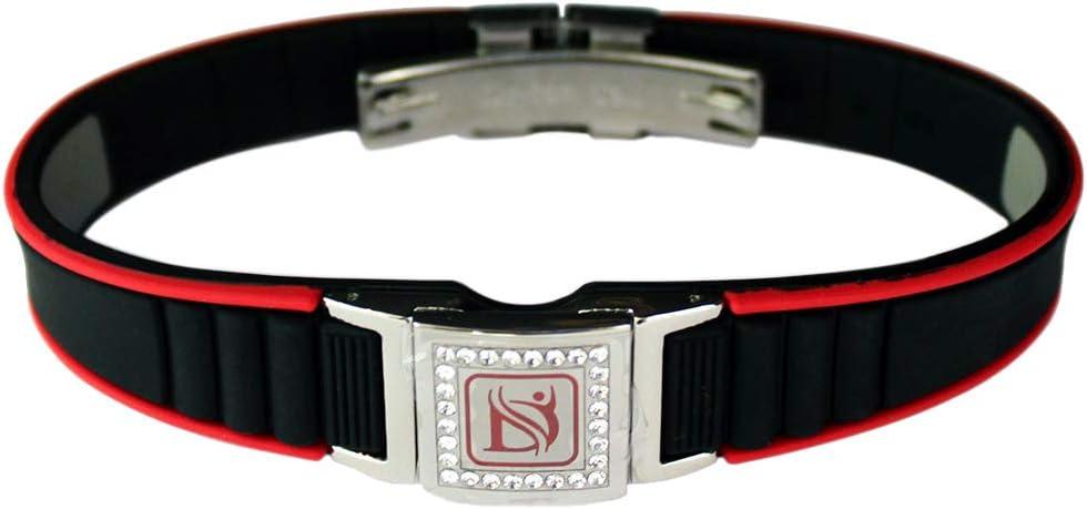 Dr-ion スワロフスキーヘッド陰イオン腕輪 サイズ調節可能/ブラック&レッド