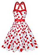 KeZheXi Women's Vintage Halter Floral 50's Rockabilly Polka Dots Retro Cocktail Homecoming Party Night Out Club Prom Dresses