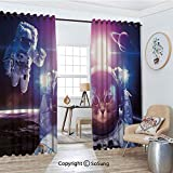 Thermal Insulated Blackout Patio Door Drapery,Astronauts in Nebula Galaxy with Eclipse in Saturn Planets Image Room Divider Curtains,2 Panel Set,100' W by 108' L Each,Dark Blue White and Purple