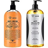 Anti Cellulite Treatment Massage Oil & Hot Cream Kit All-Natural Deep Penetrative Formula Firms Tightens & Tones Skin Muscle Relaxant & Pain Relief Helps Break Down Fat Regenerates & Moisturizes