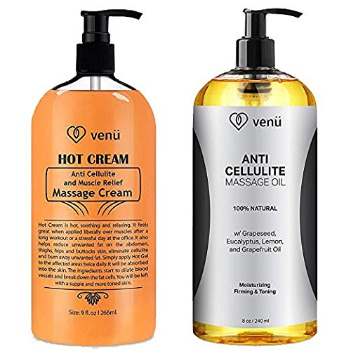 (Anti Cellulite Treatment Massage Oil & Hot Cream Kit All-Natural Deep Penetrative Formula Firms Tightens & Tones Skin Muscle Relaxant & Pain Relief Helps Break Down Fat Regenerates & Moisturizes)
