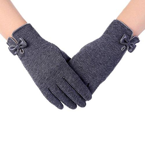 手袋 綿 レディース 笑え熊 可愛い リボン 自転車 バイク アウトドア 冬 保温 暖かい