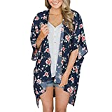 Women Floral Kimono Cardigan Loose Half Sleeve Shawl Chiffon Casual Open Front Cover up Cardigan Capes Navy