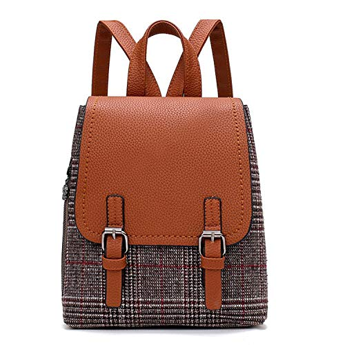 Preepy Style Woman Backpack PU Leather Wool Patchwork Bag All-match Plaid Backpack For Bags,Brown,22X12X27cm