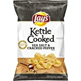 8 oz kettle - Lay's Kettle Cooked Sea Salt & Cracked Pepper Flavored Potato Chips, 8 Ounce