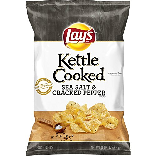 (Lay's Kettle Cooked Sea Salt & Cracked Pepper Flavored Potato Chips, 8 Ounce)