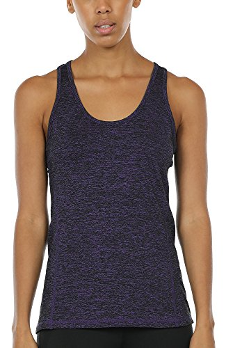 - icyzone Workout Tank Tops for Women - Racerback Athletic Yoga Tops, Running Exercise Gym Shirts (S, Purple)