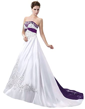 Snowskite Womens Strapless Satin Embroidery Wedding Dress 4 Ivory&Purple