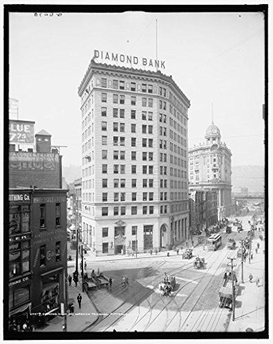 16 X 20 Gallery Wrapped Frame Art Canvas Print Of Diamond National Bank And Wabash Terminal Pittsburgh Pa 1905 Detriot Publishing Co  63A