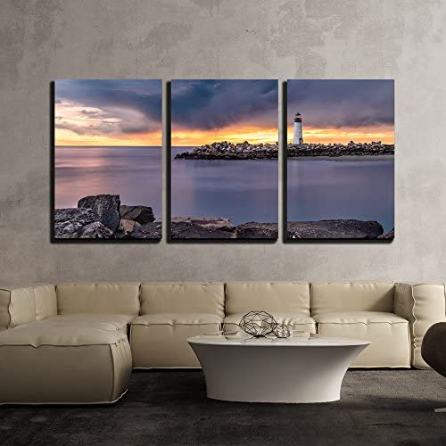 Landscape with Lighthouse During Sunset x3 Panels
