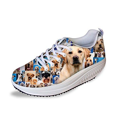 FOR U スポーツシューズ ウオーキングシューズ スニーカー レディース 3Dプリント 軽量 通気 動物柄 犬柄 日常着用 通勤 通学