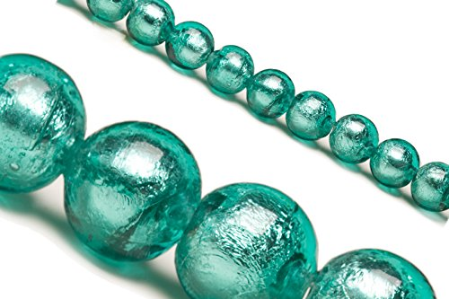 Green Dichroic Glass Bead with Silver Color Foil 10mm Round Sold Per 25 Pcs/string