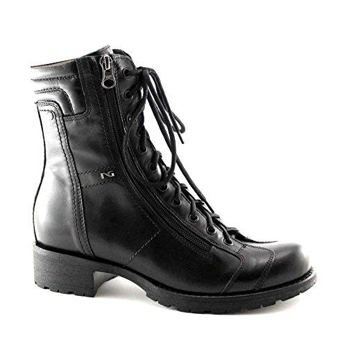 BLACK JARDINES 16460 Negro mujer anfibio cordones de apertura lateral de la cremallera 36