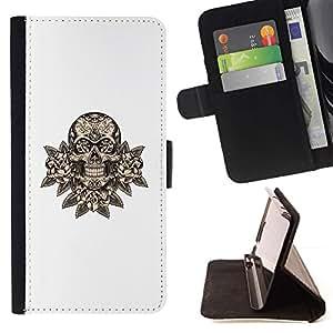 Momo Phone Case / Flip Funda de Cuero Case Cover - Minimaliste White Death Rocher - Samsung Galaxy S6 Active G890A