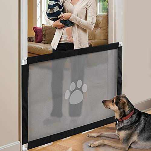 """PETLESO Magic Gate for Dogs – Lock PVC Screen Dog Gates for Indoor Pet Safety Gate Portable Easy Install 39.3×31.5"""""""