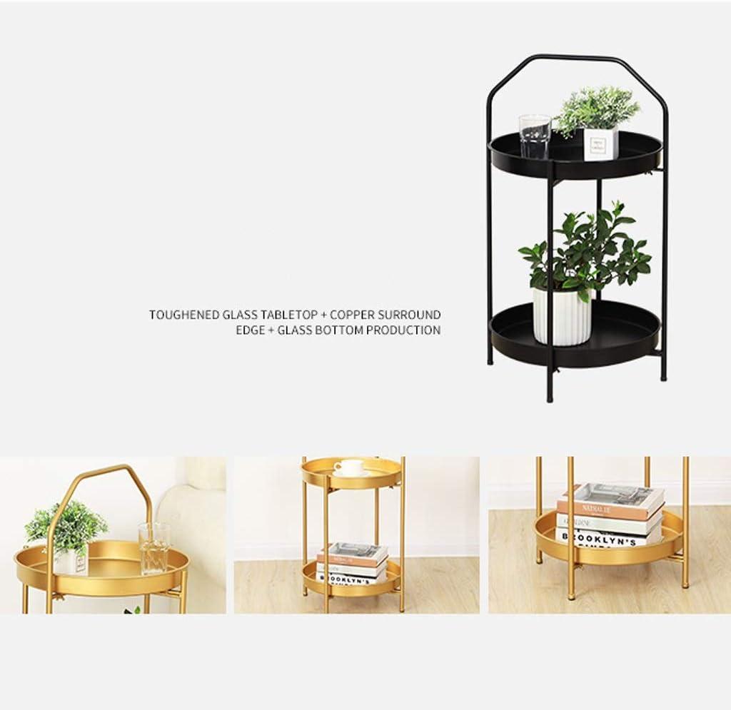 LF- Petite Table Basse Simple Double Petite Table Basse Fer Salon canapé lit Chambre Petite Table Ronde Élégant (Color : White) White