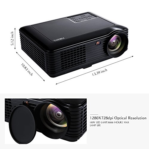 Hd Home Theater Multimedia Lcd Projector: HD 1080P Home Projector, GBTIGER 4000 Lumens 1280x800P