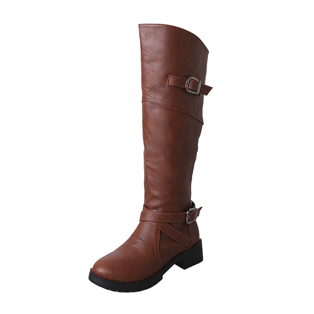 LIM&Shop ⭐ Women Side Zipper Knee High Riding Boot for Lady Fashion Low Heel Boot Wide Calf Booties Side Zipper Fashion Brown by LIM&SHOP-Sandals & Sneakers