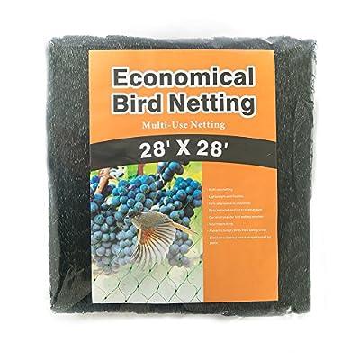 Gardener House Economical Bird Netting,Black,28Ft by 28Ft(2pc)