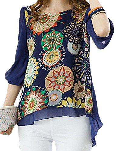Vonfon Women Floral Print Loose Plus Size Back Pleated Chiffon Blouse Tops Blue, (Womens Pleated Print Blouse)