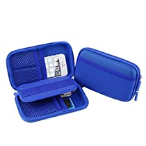 Happy Hours - Travel Organizer Mini USB Accessories Earphone Cable Bag / Portable Anti Shock Hard Case Storage Protection Pouch Pocket with Mesh Tools Pouch(Blue)