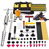 PDR Tools,TongYu 65pcs Dent Puller Kit Set Rubber Hammer Dent Lifter Bridge Puller PDR Tabs Dent Removal Light Hot Glue Gun Glue Sticks for Car Dent Repair