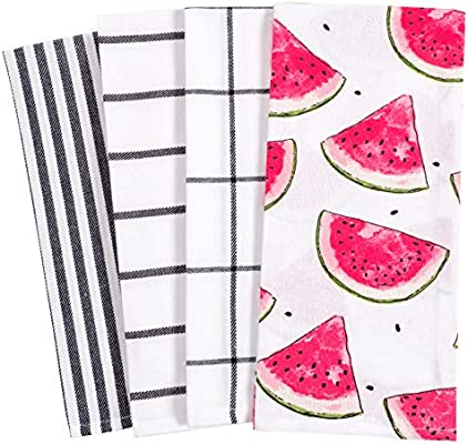 Kaf Home Pantry Watermelon Slices All Over Kitchen Dish Towel Set Of 4 100 Percent Cotton 18 X 28 Inch Amazon Sg Home