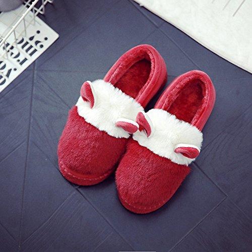 Y-Hui en el invierno Home Furnishing hembra zapatillas de algodón grueso algodón caliente botas de patinaje interior de invierno femenina zapatos zapatillas,38-39 (apto para 37-38 pies),Claret