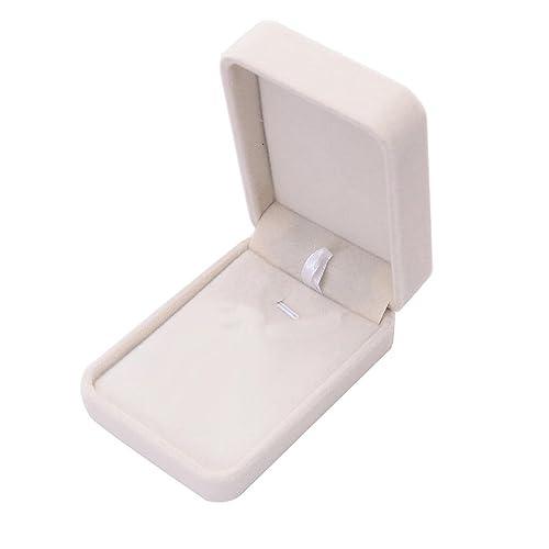 Angelof – Caja de regalo de joyas beige, caja para anillo, en terciopelo,