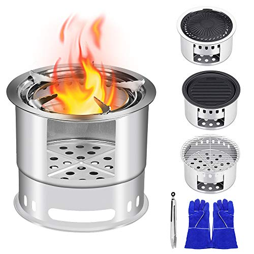 KINDEN Wood Camping Stove Bonfire Fire Pit – 5 in 1 Multifunction Wood Burning Camp Stove Windproof for Outdoor Traveling Picnic BBQ Fishing Car Camping Backyards Patio Festival