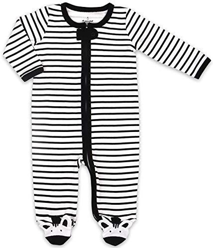 The Peanutshell Black and White Zebra Baby Footie - Newborn, 3M, 6M, 9M Sizes (Newborn)]()