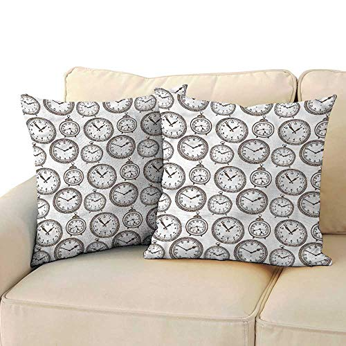 Ediyuneth Throw Pillows Covers for Couch/Bed Clock,Pocket Wath with Number 18