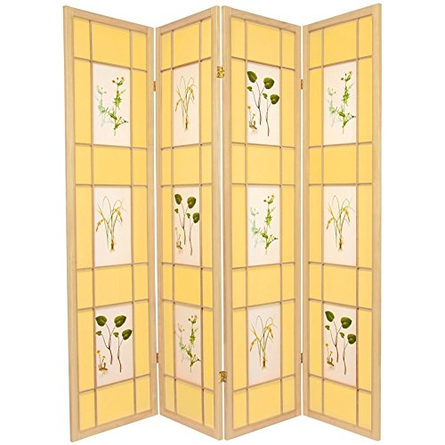 - Oriental Furniture 6 ft. Tall Herbal Floral Shoji Screen - 4 Panel - Natural