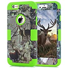 """Iphone 6 Case,Iphone 6S 4.7"""" Case,Lantier Luxury Triple Layer Hybrid Tree Pattern Camo Combo Soft Silicone + Hard PC Cover Protector for Apple Iphone 6/6S 4.7"""" Deer Green"""