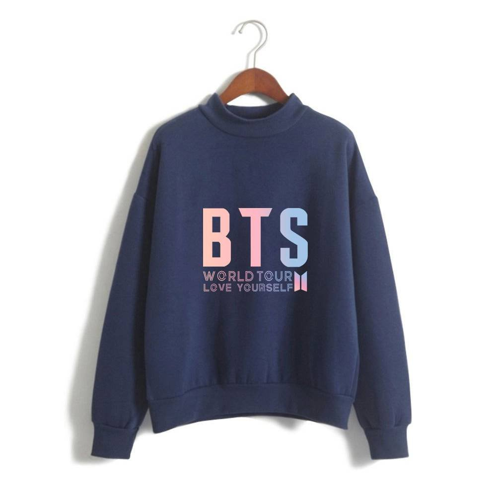 2018 Kpop BTS World Tour Love Yourself Casual Women High Neck Sweatshirts Sweater Hoodies