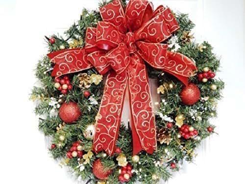 Amazon.com: Adorable Red Christmas Wreath, Battery ...