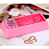 4-in-1 Keyboard Style Office Stationery Set Stapler + Punch + Keyboard Brush + Paper Clip Adsorber - Black / White / Pink