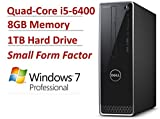 2016 NEW Dell Inspiron 3000 Premium High Performance Small Form Desktop PC, Intel Quad-Core i5-6400 Processor up to 3.3GHz, 8GB RAM, 1TB HDD, DVR Buner, WLAN, Bluetooth, HDMI, VGA, Windows 7 Pro
