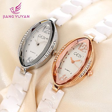 reloj ocasional moda mujer nš²mero grande rhinestone genuino reloj de cerš¢mica rosa relojes de vestir de oro Golden: Amazon.es: Relojes