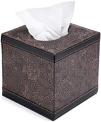 Square Black//Brown PU Leather Tissue Box Paper Napkin Cover Holder 12*12*12CM