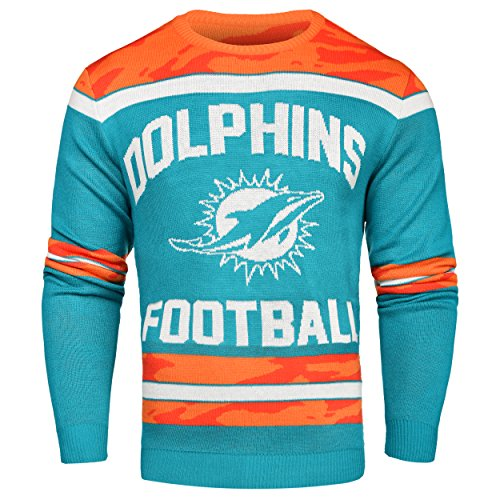 FOCO Miami Dolphins Ugly Glow In The Dark Sweater - Mens - Mens Large by FOCO