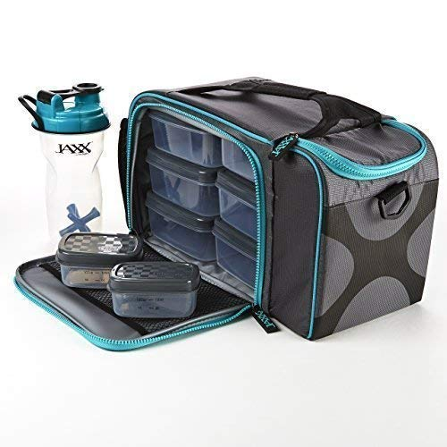 Fit & Fresh JAXX FitPak XL Insulated Meal Prep Bag with Adjustable Shoulder Strap, Includes Set of 8 Containers, 2 Large Ice Packs and 28-ounce JAXX Shaker Bottle, Teal