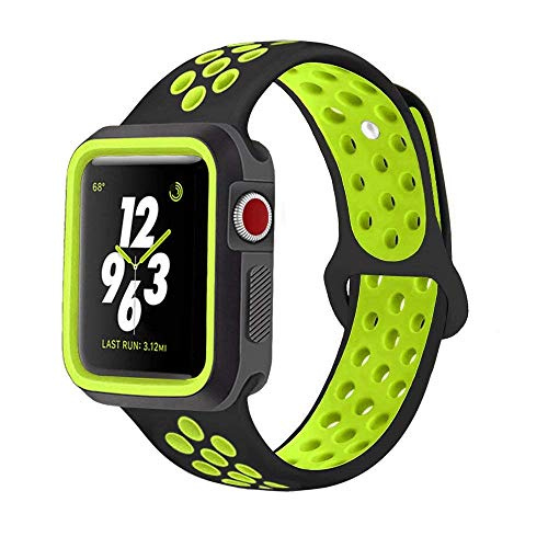 Tech Express Sports Rugged Case for Apple Watch Series 1, 2, 3 [iWatch Cover] Thick Active Armor Dual Color Silicone Bumper Sport Durable Bracelet Two Tone Case (Black/Neon, ()
