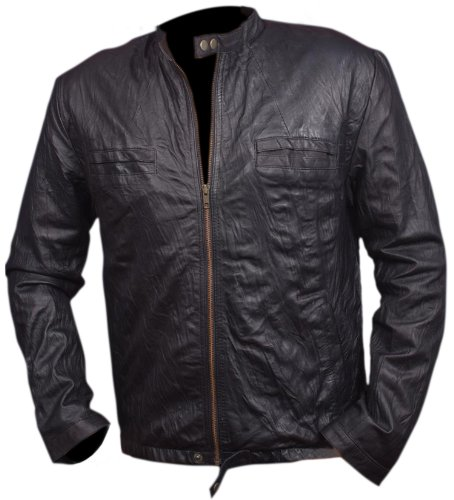17 Again Jacket, Zac Efron Oblow Wrinkled Leather Jacket - M
