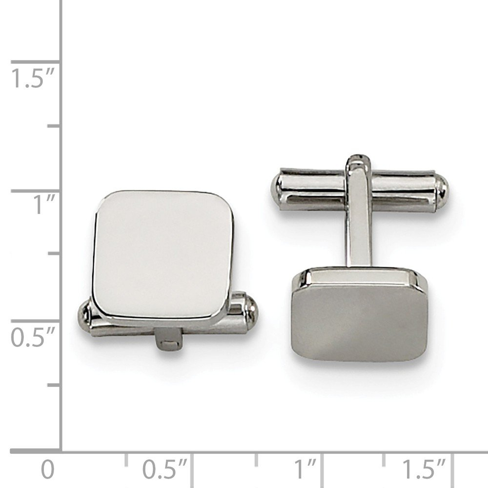 13mm Black Bow Jewelry Mens Stainless Steel Polished Square Cuff Links